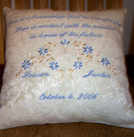 Embroidered Engagement Gift Pillow