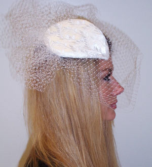 White Satin and Russian Tulle Fern Design Headpiece