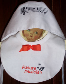 musical notes embroidered bonnet and bib