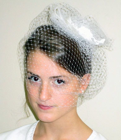 White Russian Netting Headpiece